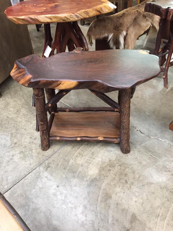 Walnut Coffee Table w/Pear Base and Magazine Rack