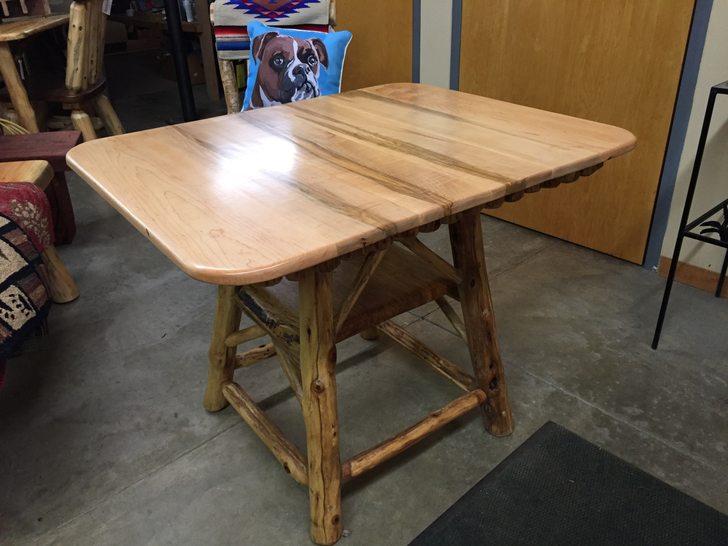 Breakfast or Game Table, Maple with Shelf and Locust Legs