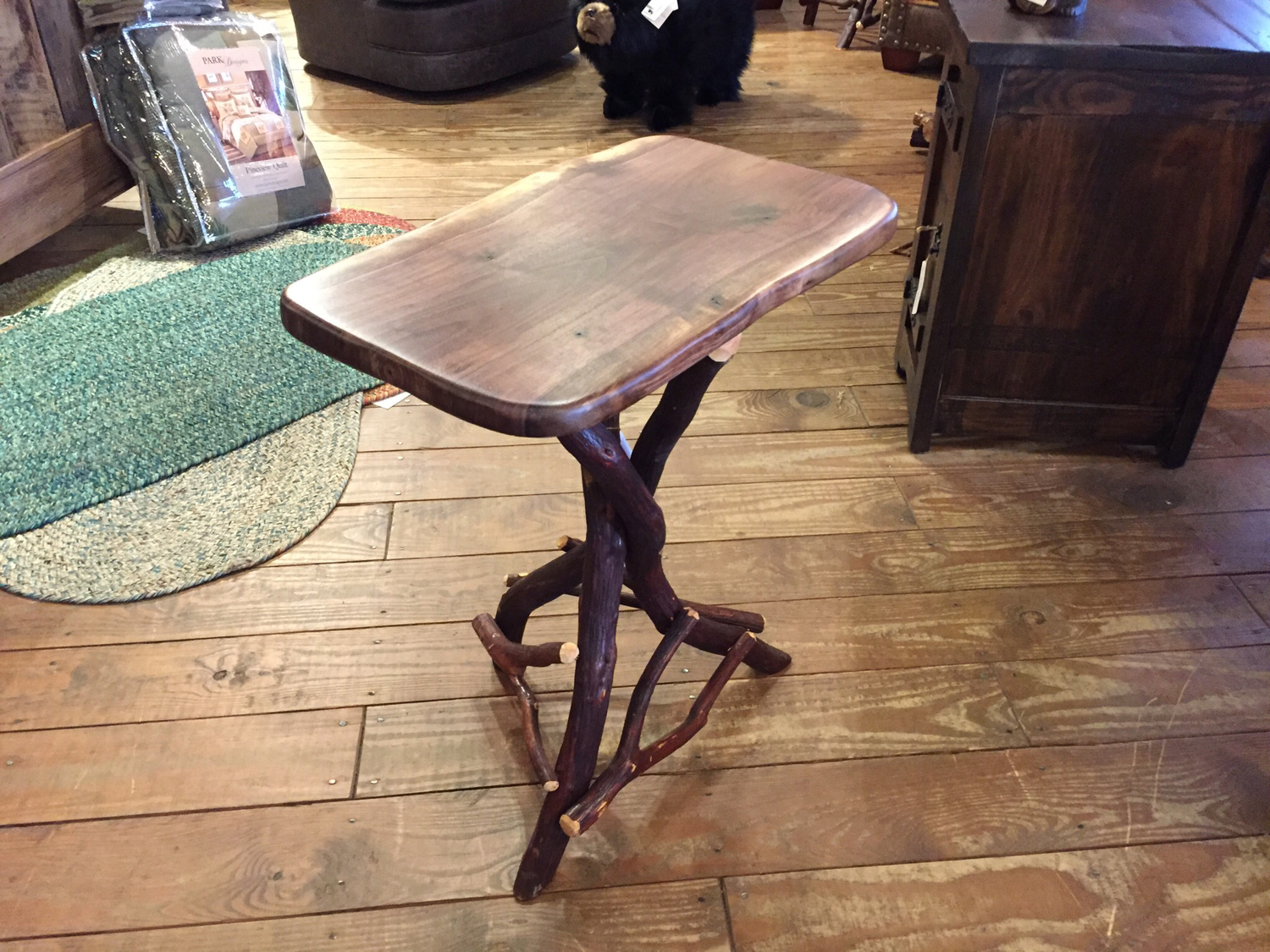Walnut Tripod Side Table with Mountain Laurel Base