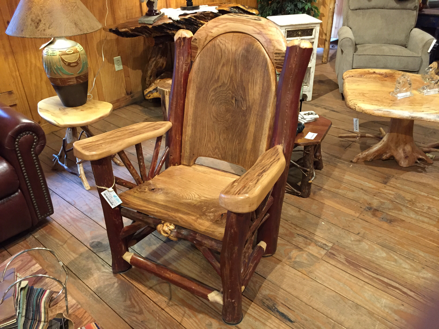 Oak Slab Hickory Arms and Headrest, Crepe Myrtle Logs Lounge Chair