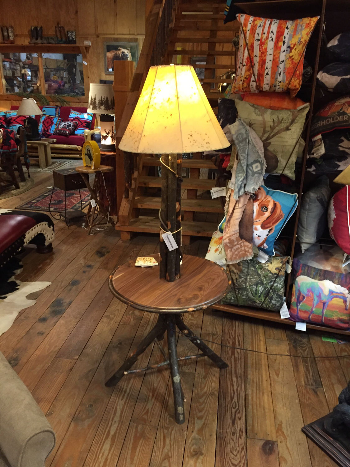 Floor Lamp with Hickory Table