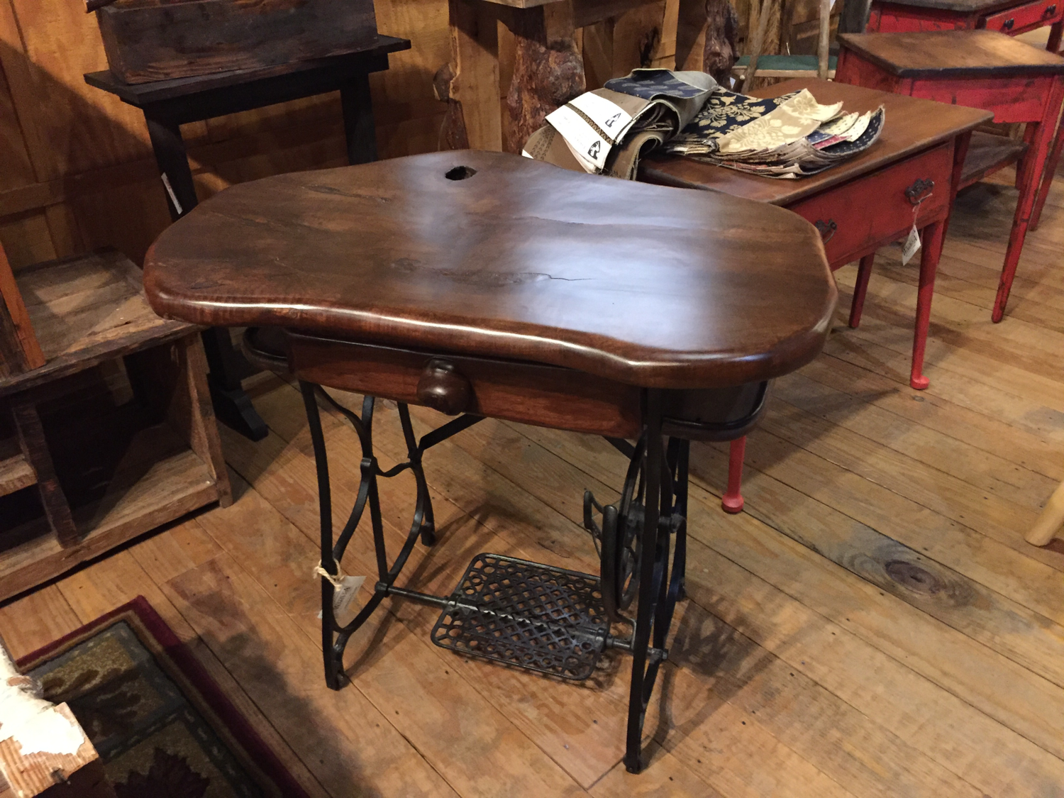 Maple Top Stained Desk with Antique Sowing Machine Base