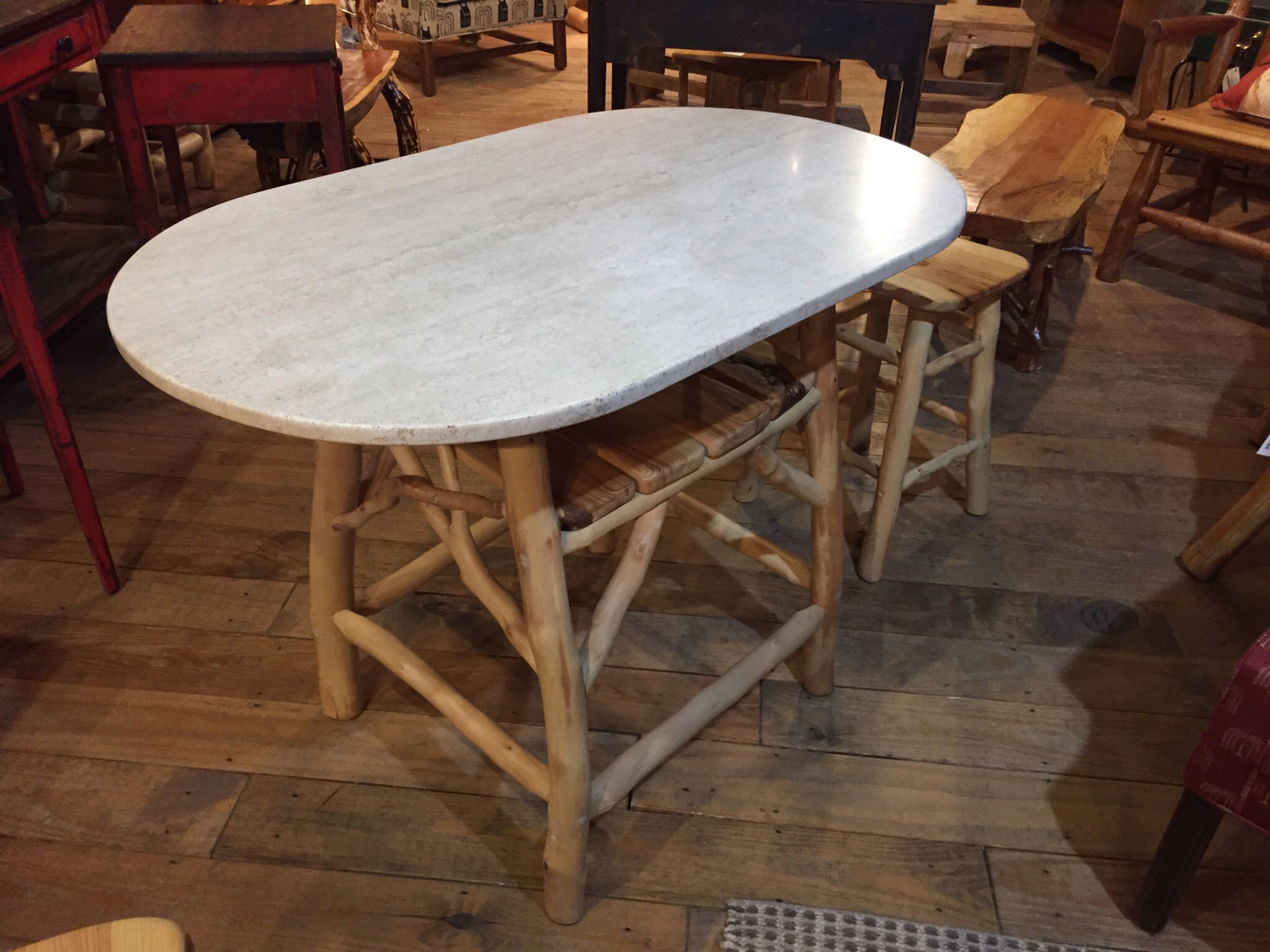 Game/Breakfast Table with Peeled Fruitwood Base