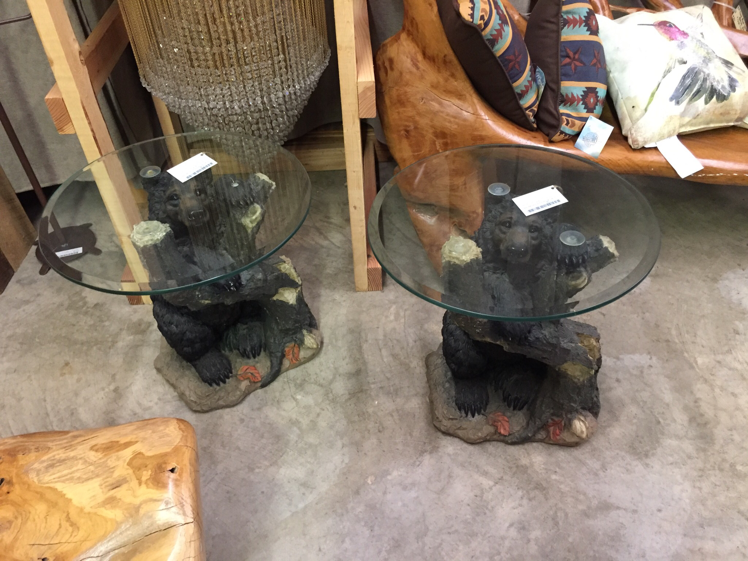 Bear End Table with Glass Top