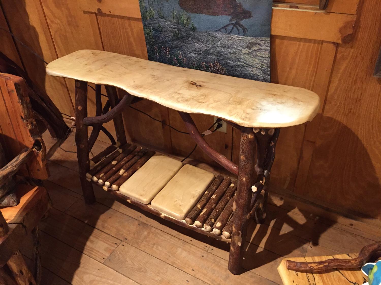 Maple Sofa Table with Magazine rack
