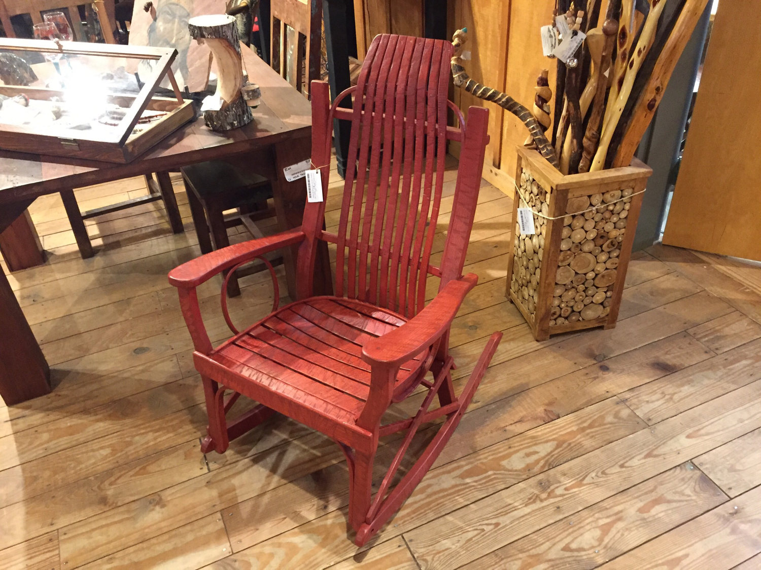 Standard Flat Arm Distressed Red Rocker