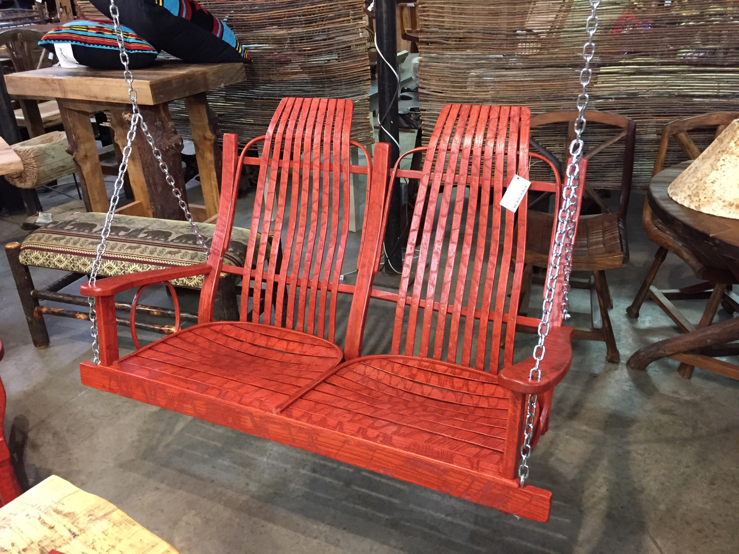 Oak Swing Distressed Red Outdoor Finish