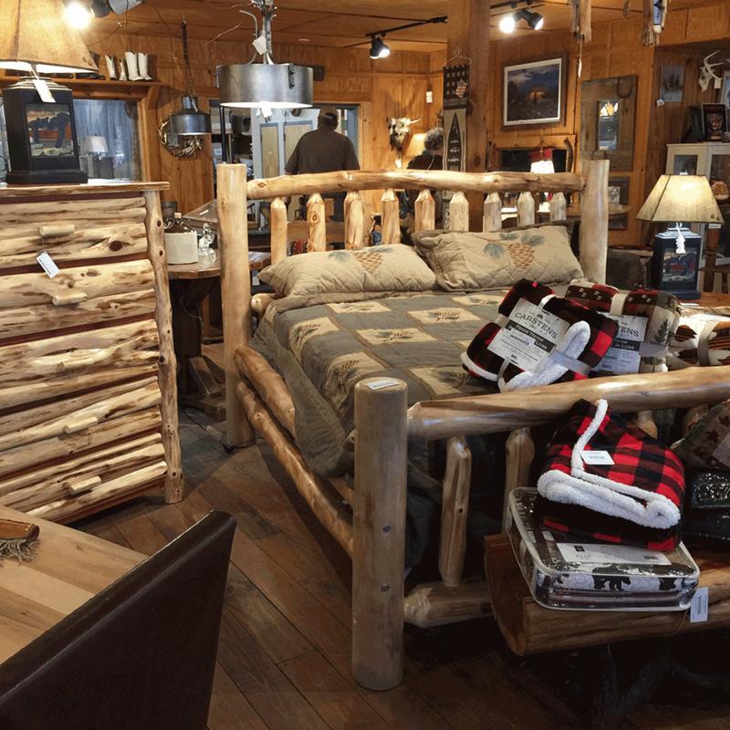Aspen King Natural Log Corral Bed with Slats