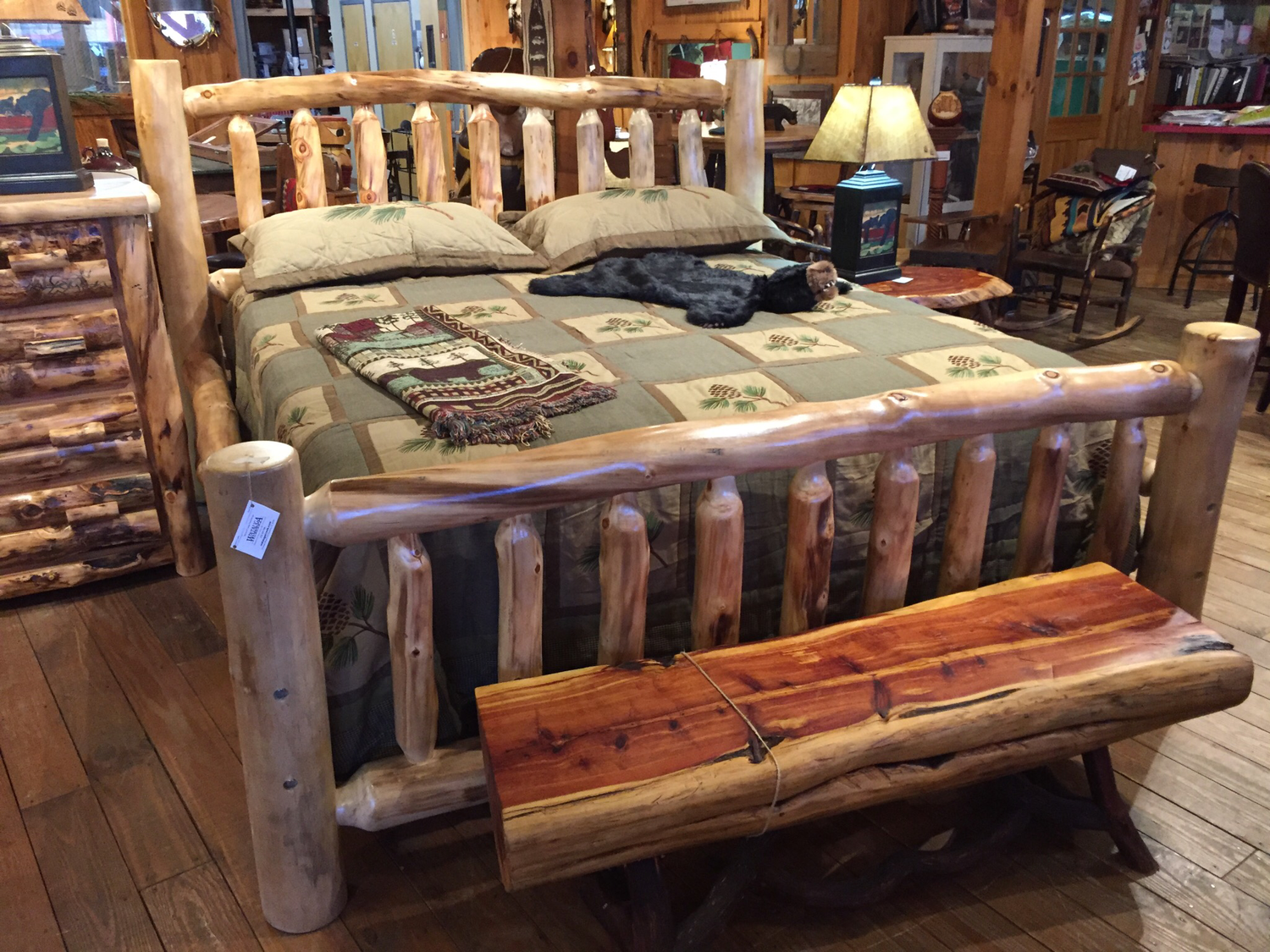 Aspen King Natural Log Corral Bed with Slats