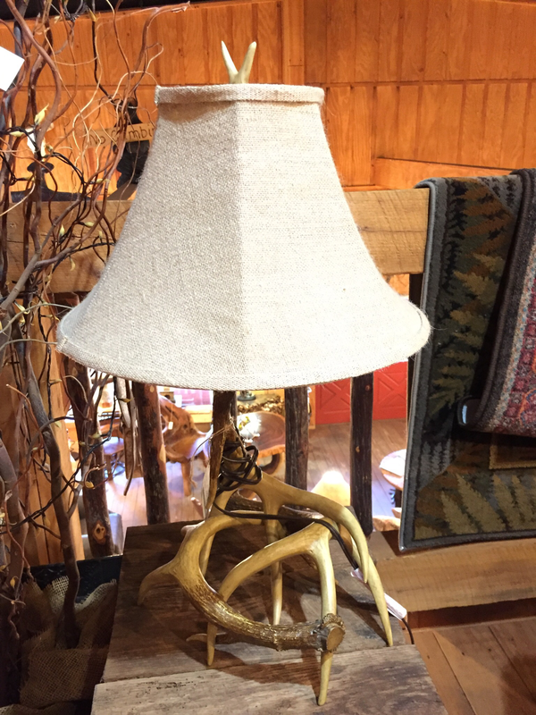 Faux Antler Table Lamp with Burlap Shade