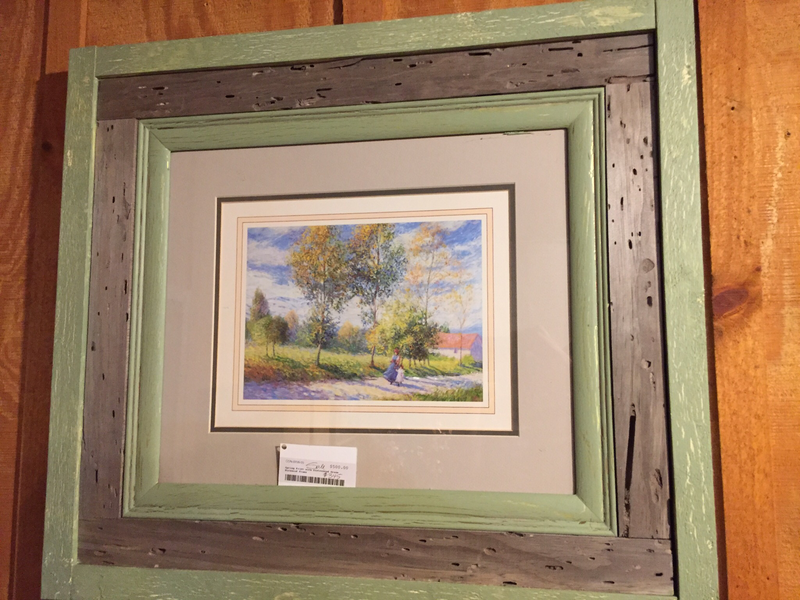 Spring Print with Distressed Green Barnwood  Frame