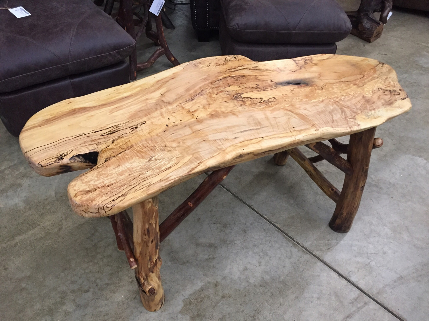 Coffee Table Maple Slab with Locust and Mountain Laurel Base
