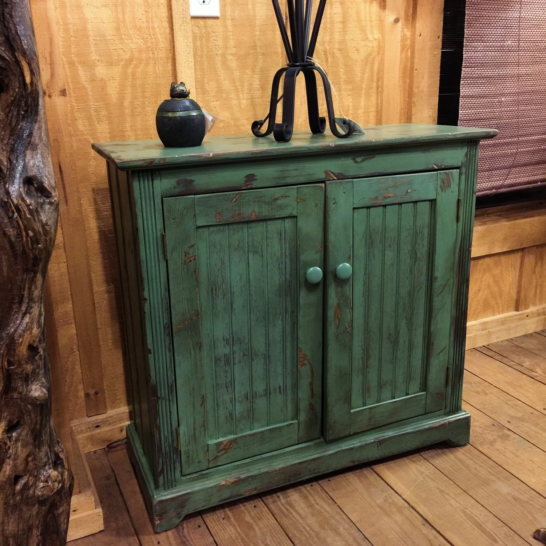 Two Door Cabinet Moss Green Finish