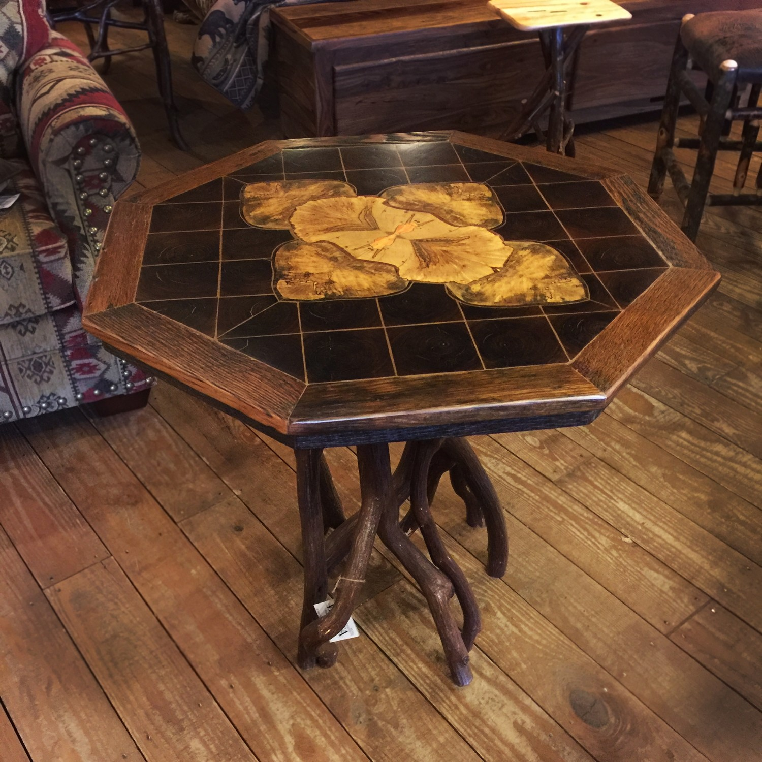 Octagon Inlaid Rustic Occasional Table