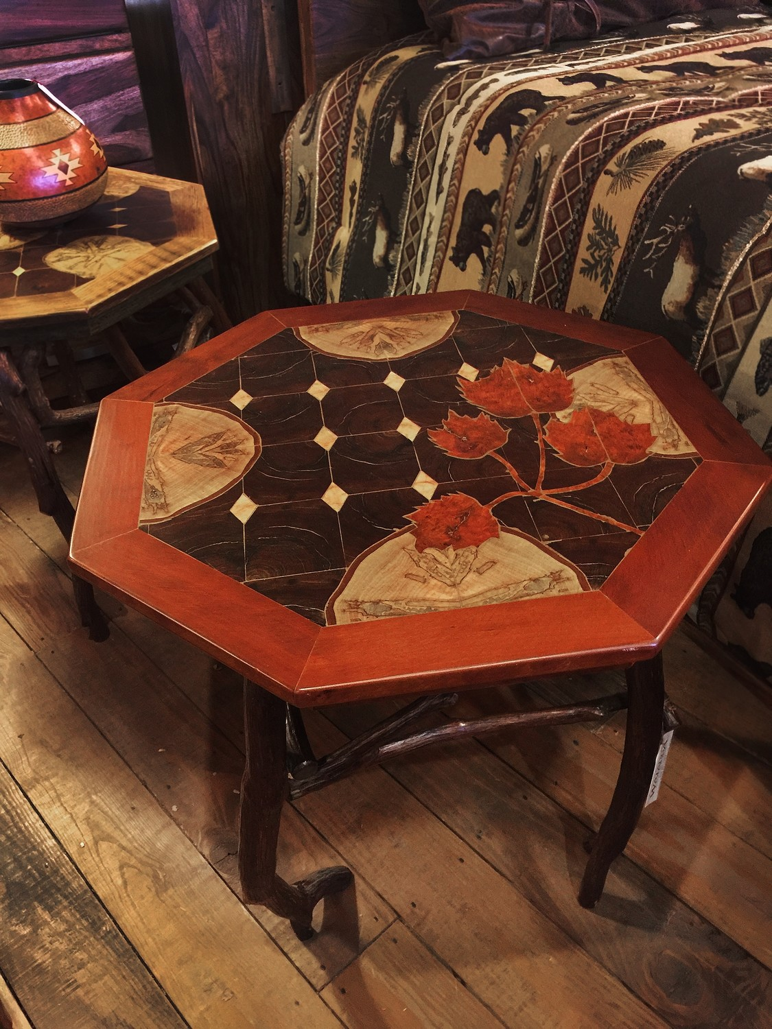 Octagon Rustic Inlaid Side Table