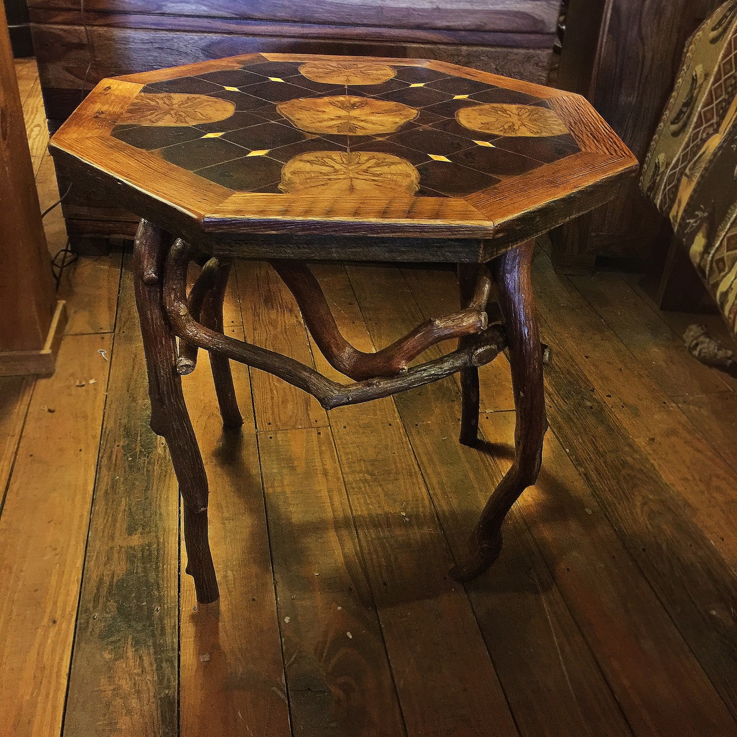 "Octagon Inlaid Side Table 27"" With Weathered Chestnut Trim"