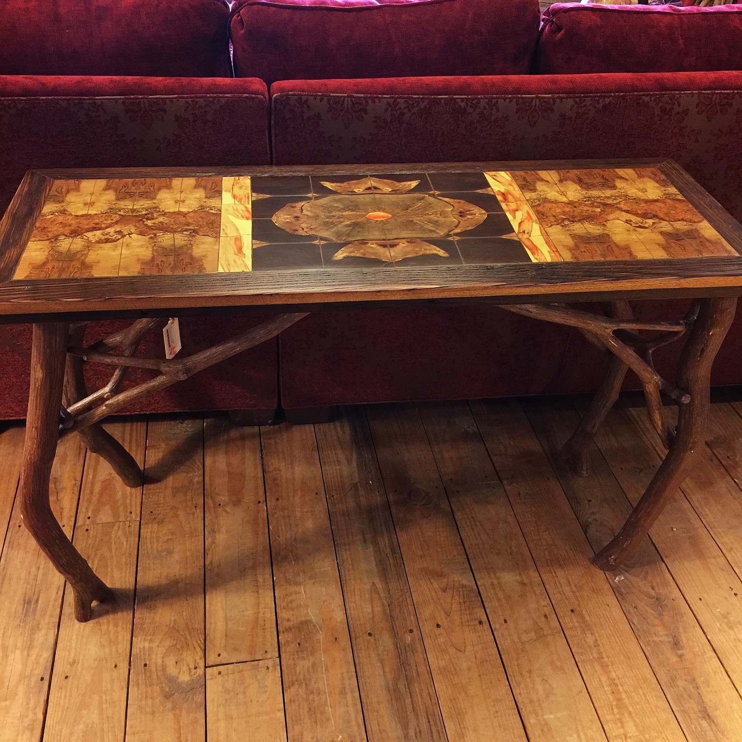 Rustic Inlaid Sofa Table