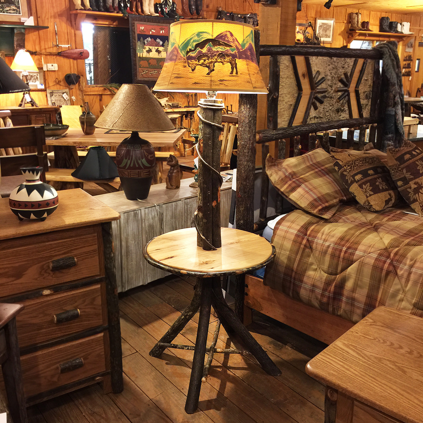 Hickory Floor Lamp With Table  (shade not included)