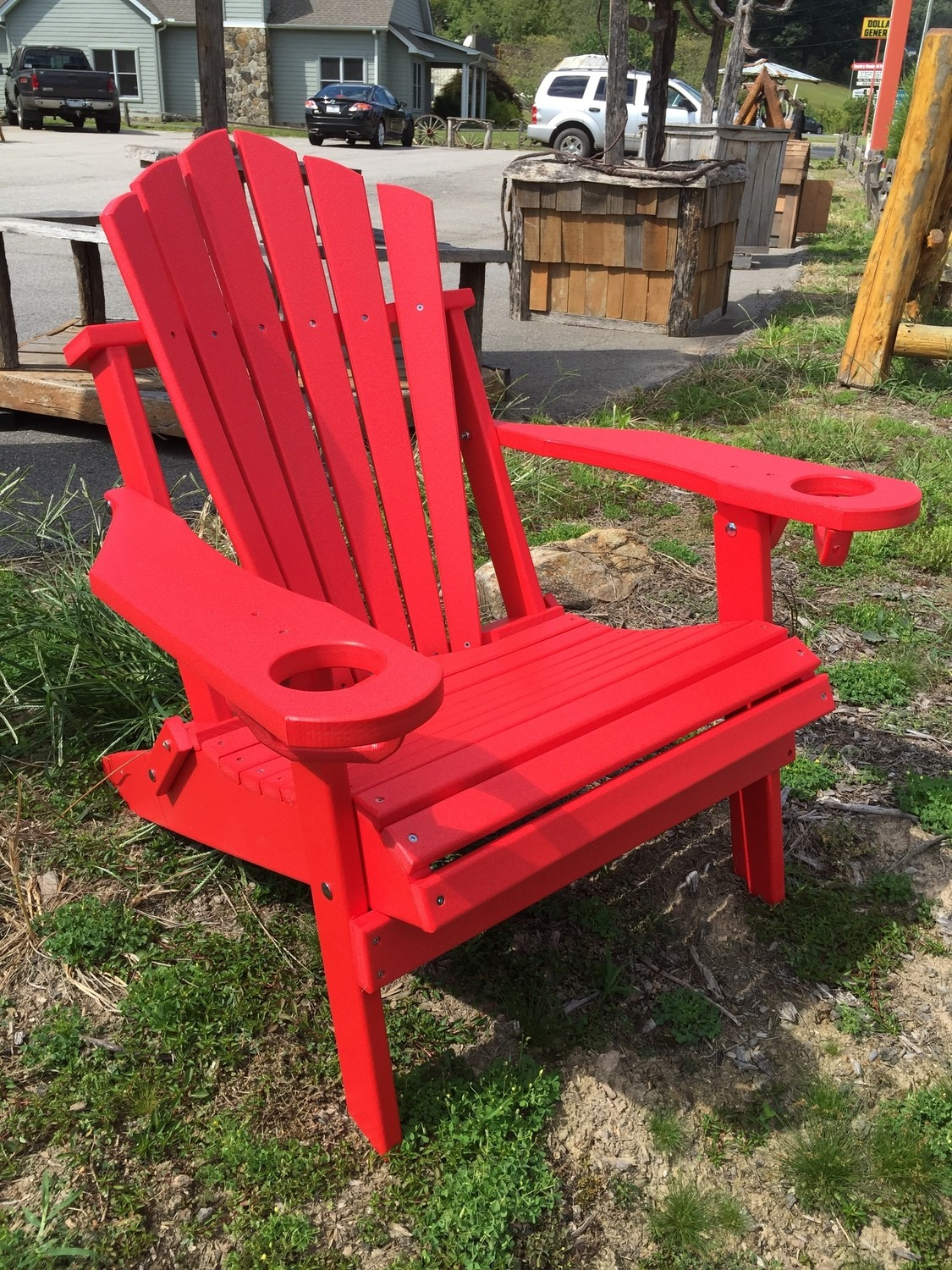 Folding Adirondack Chair Fan Back w/Cup Holders