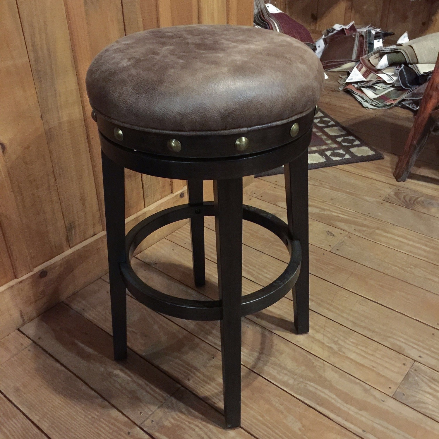 Benard Backless Wood Swivel Bar stool