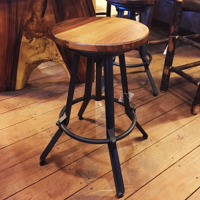 Parota Wood Adjustable Swivel Stool