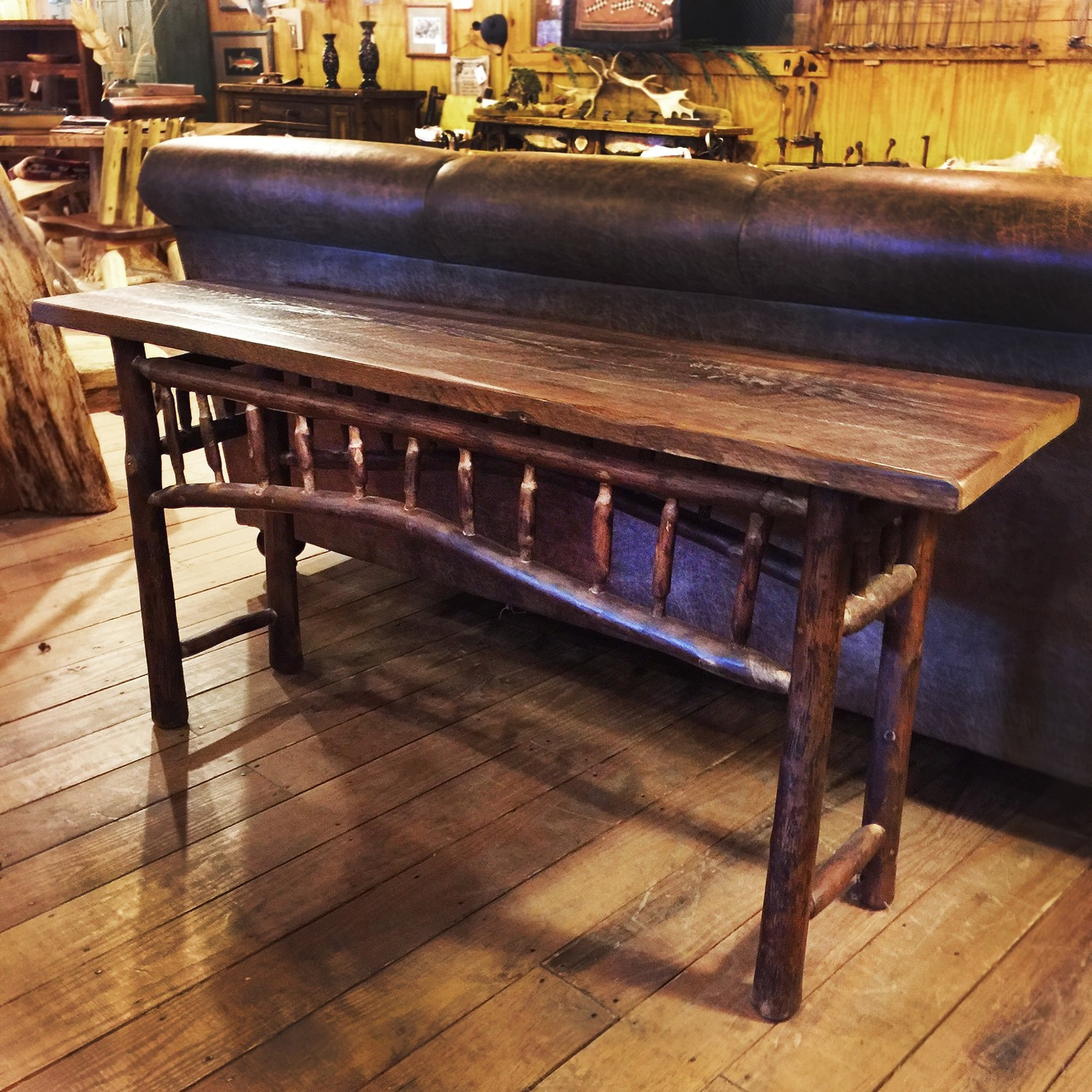 Hickory And Reclaimed Wood Sofa Table