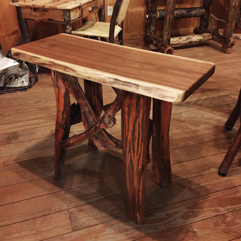 Walnut Sofa Table with Driftwood Legs