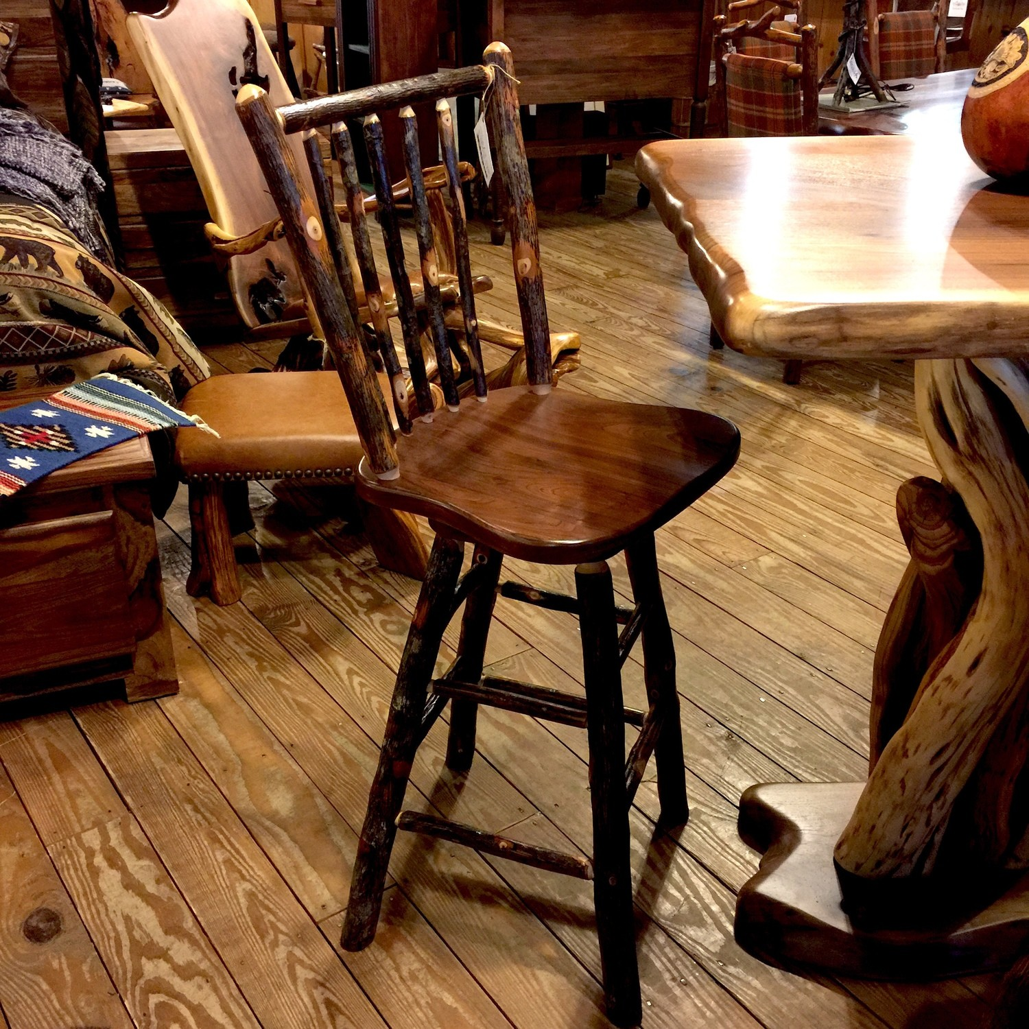 Rustic Walnut and Hickory Stick Back Swivel Barstool 30""