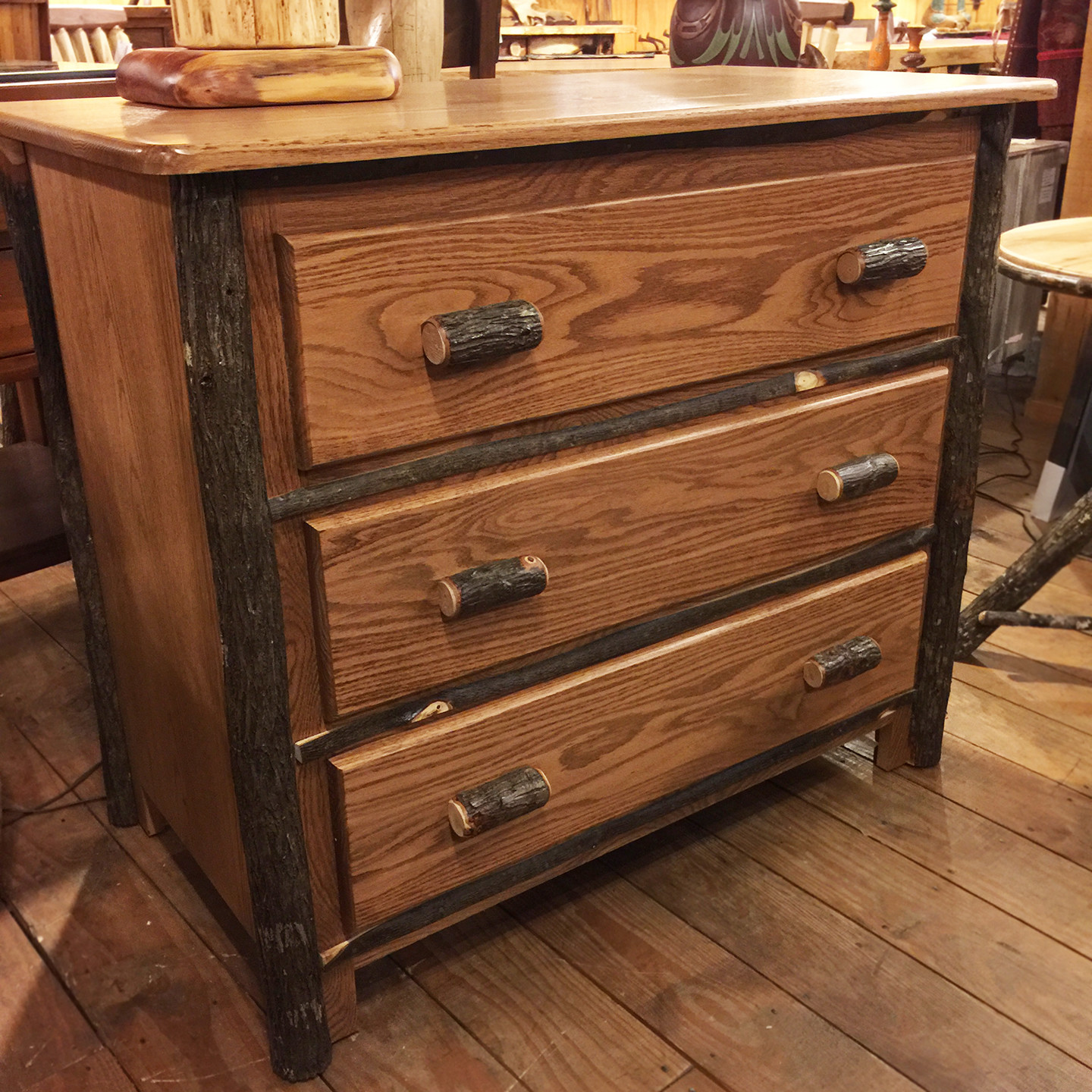 3 Drawer Hickory Chest with Oak