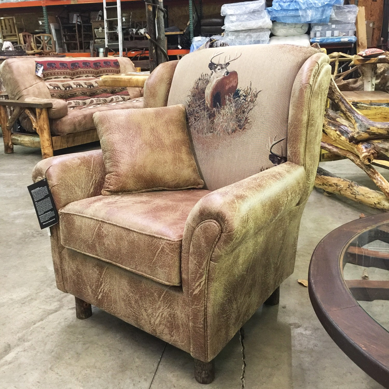 Wing Chair w/ Hickory Legs - Deer
