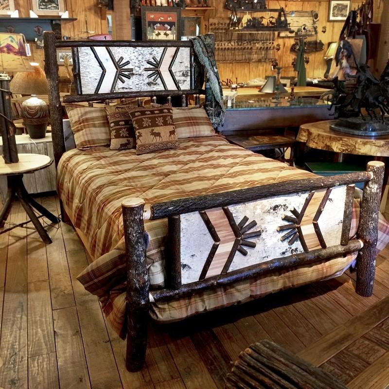 Custom Hickory Queen Adirondack Complete Bed