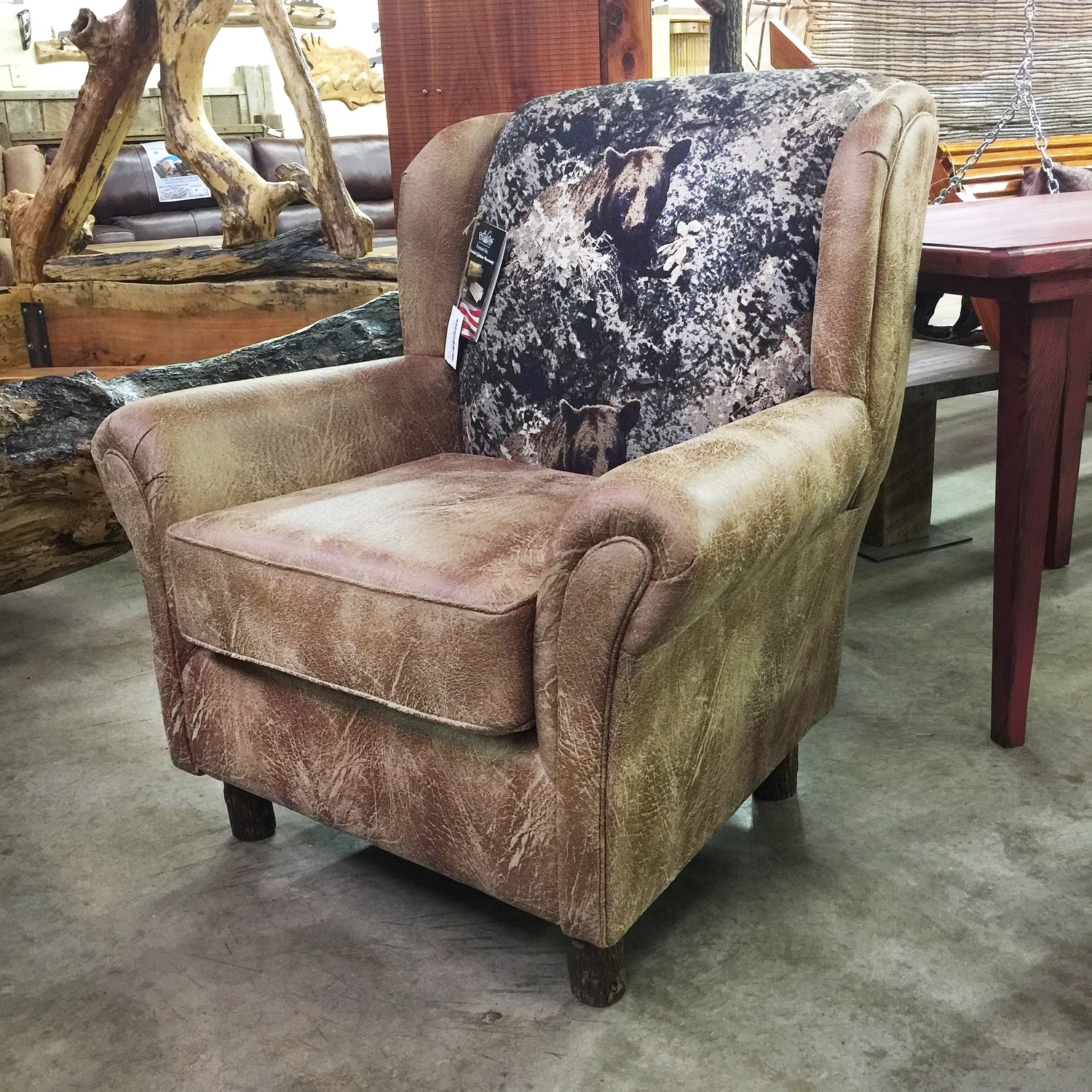 Wing Chair w/Hickory Legs -Bear