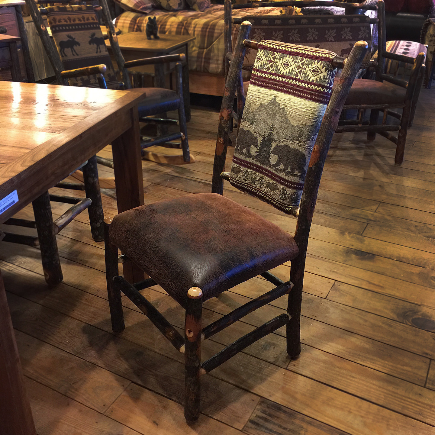 Hickory Dining Chair Bear Mountain Fabric/Ranger Faux Leather