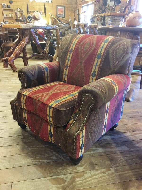 Oliver Chair Covered in Apache Sunset Fabric