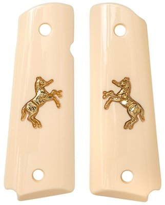 1911 Full Sized Ivory Polymer with Colt Rampant Horse Gold Inlay