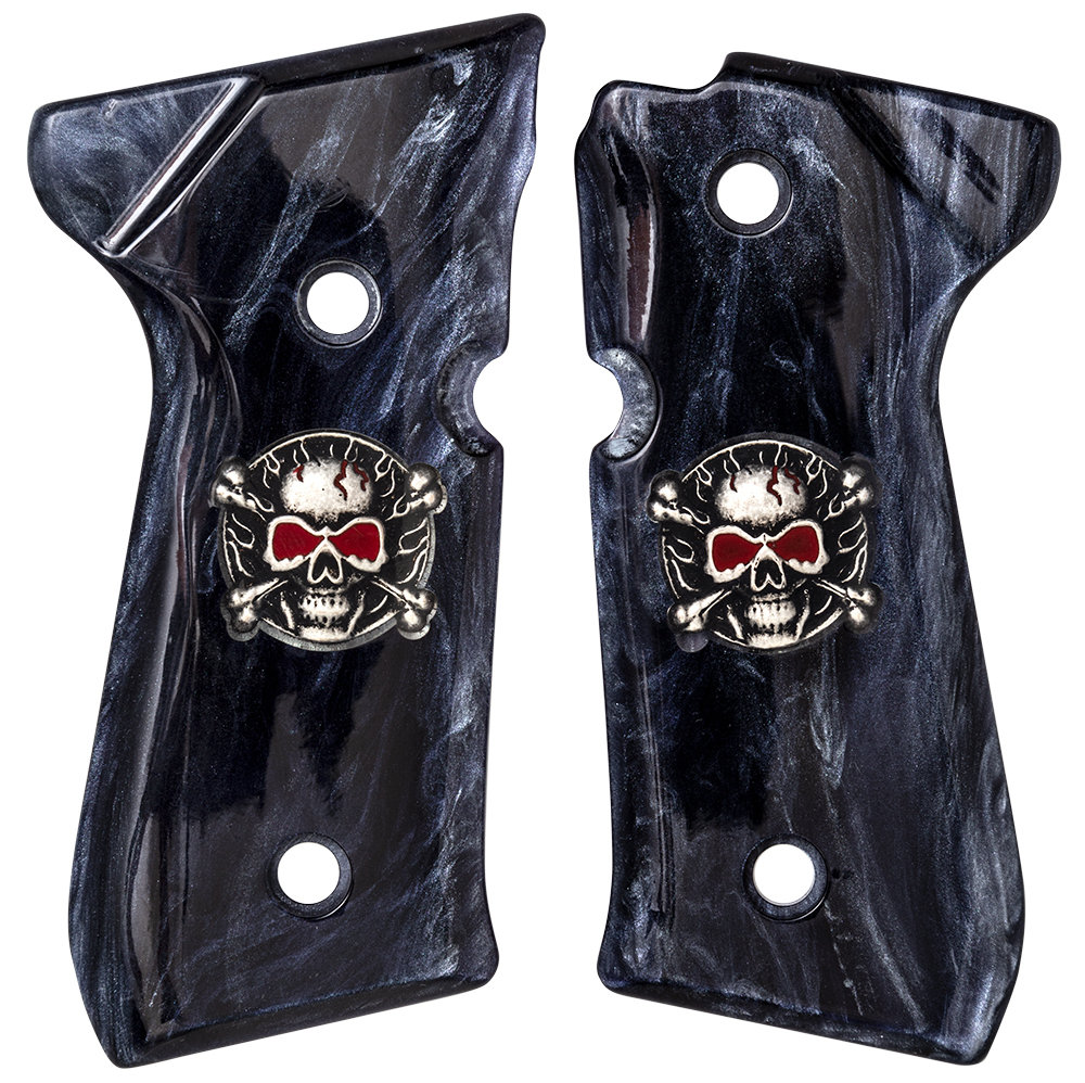 Beretta M9-92FS-96FS Coin Inlay Skull & Crossbones with red eyes