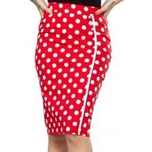 Sourpuss Red/white Polka Dot Pencil Skirt