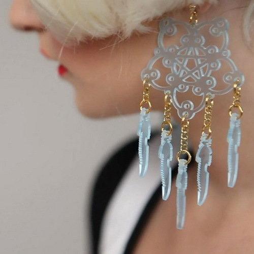 Clear Snowflake Dangling Earrings