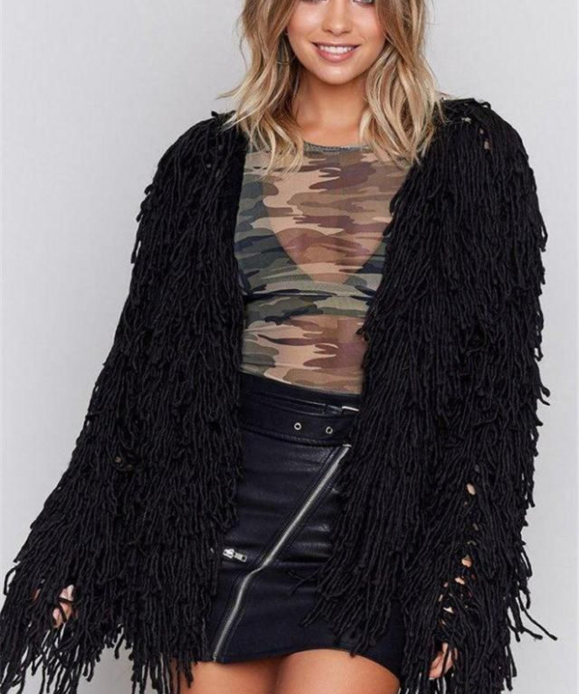 Faux Lamb Wool Jacket Black