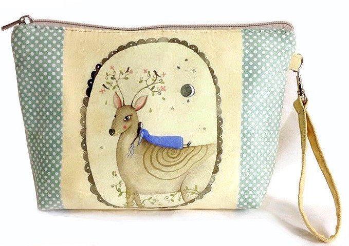 Soft Deer Clutch Makeup Bag