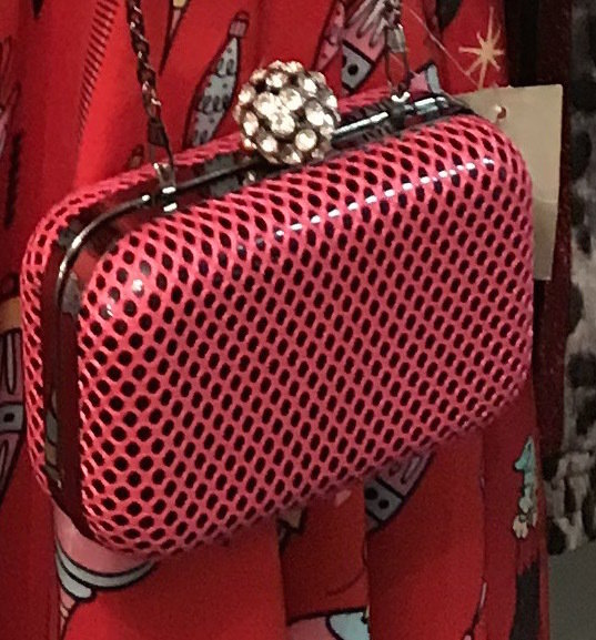 Pink Fishnet Clutch