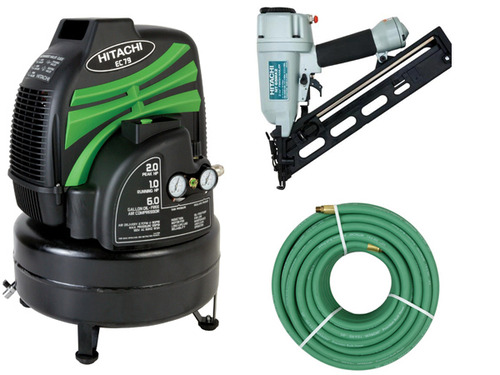 Hitachi Finish Comb Nailer/Compressor/Hose/Fittings
