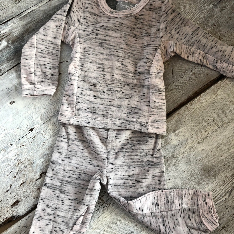 Pyjama Velour 2 Pièces Rose Pale