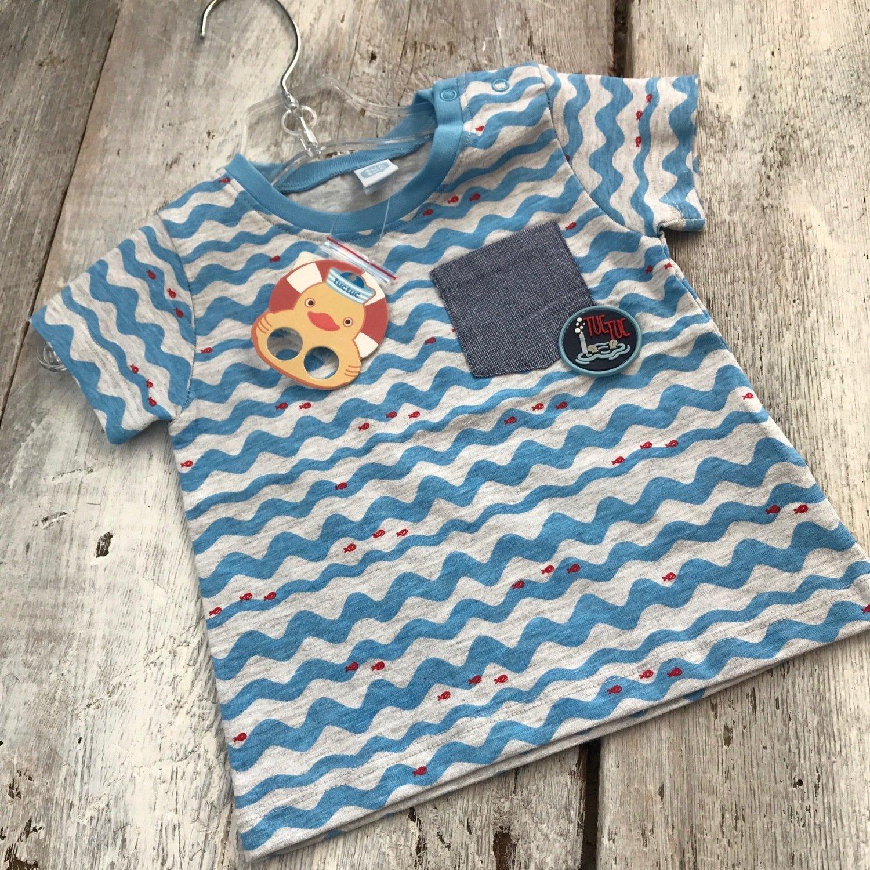 T-shirt Vagues bleues et Poissons Rouges