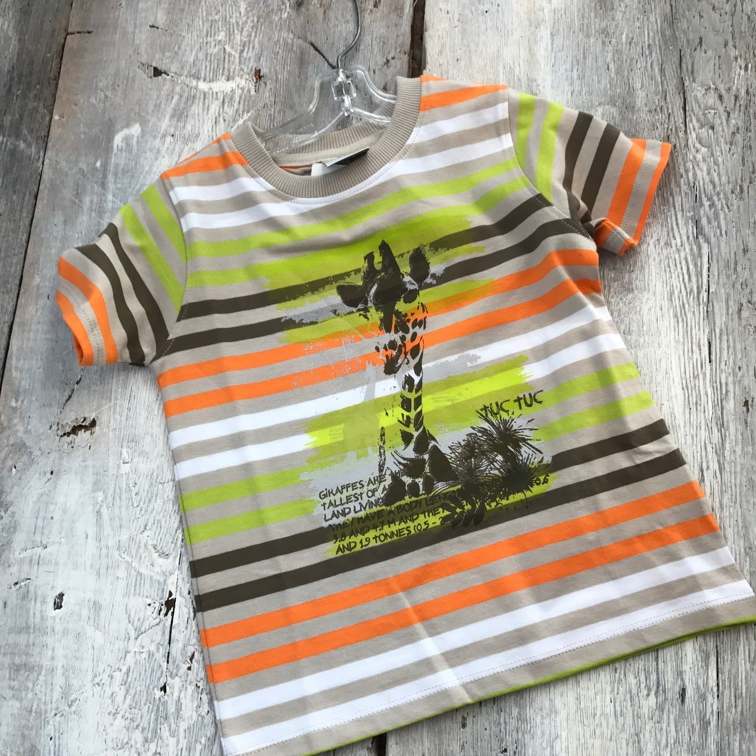 T-shirt Rayé Lime Et Orange Girafe