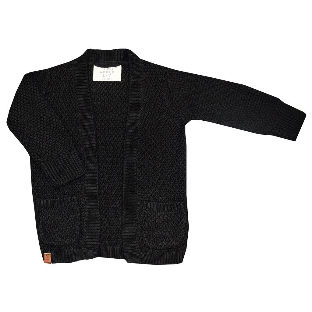 Cardigan fille, tricot coton noir
