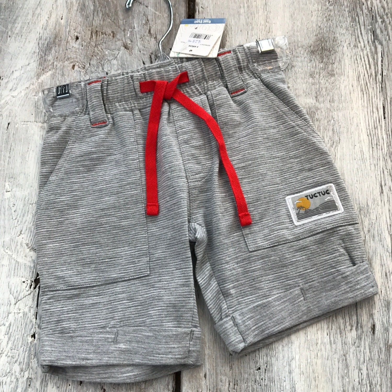 Short Gris Rayures Blanches