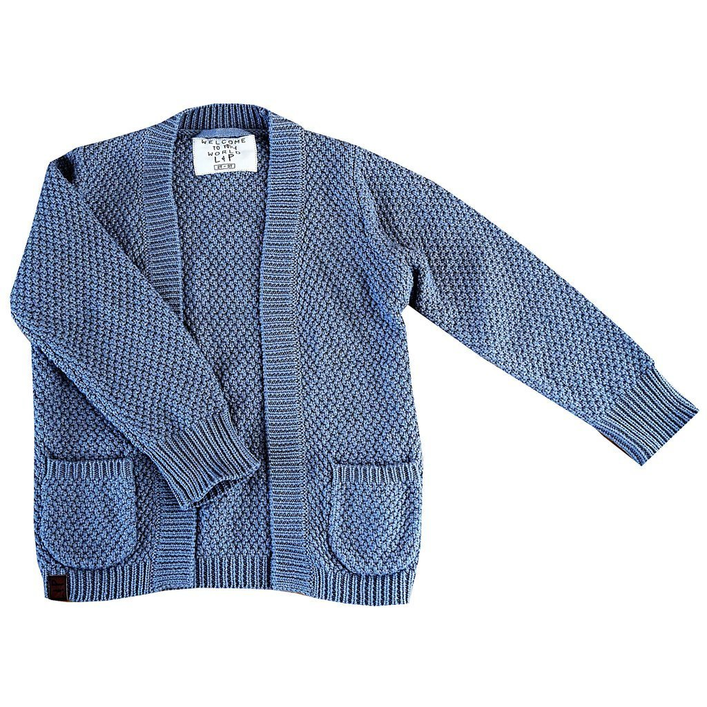 cardigan fille tricot coton gris