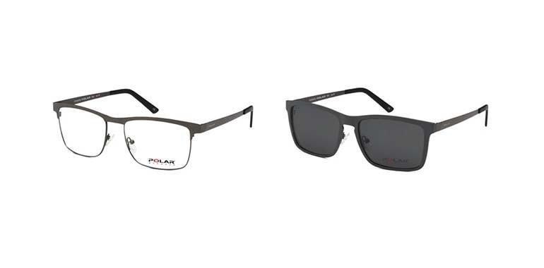 negozio online 359d3 c3642 Montatura da vista Polar 402 in metallo con clip on da sole polarizzato