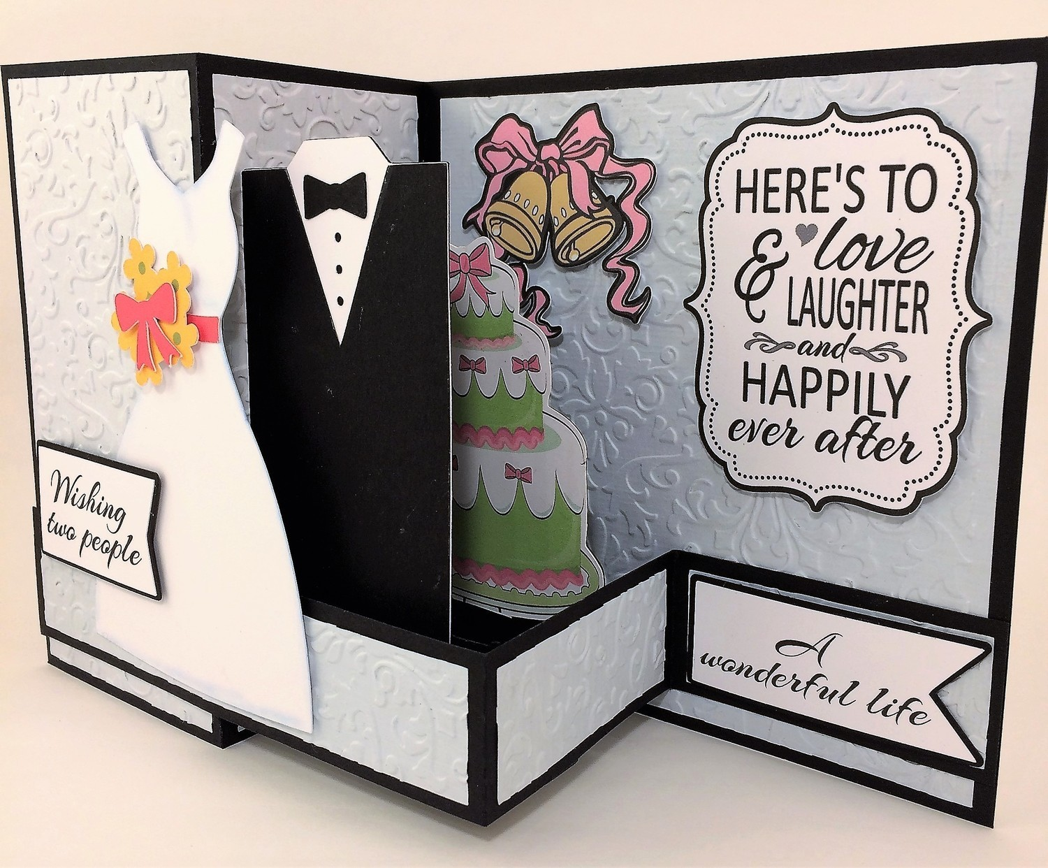 Pop Out Wedding Card - BLUE Embossed
